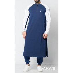 Qamis long LONGLINE H - Indigo blue and White