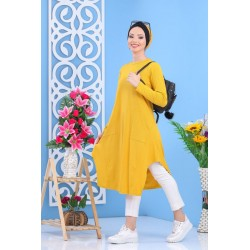 Tunique mi-longue évasée de couleur jaune empereur