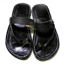 Moroccan handmade sandals / flip flops in black