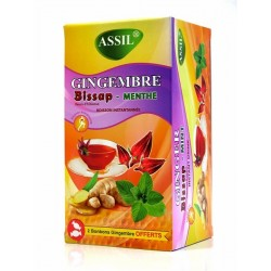 Instant drink with ginger, Bissap and mint