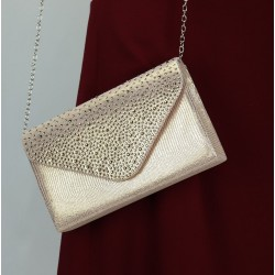 Handbag with rhinestones for women - Golden color