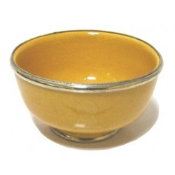 Large Moroccan pottery bowl, yellow enamelled and surrounded by silver metal