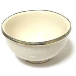Large Moroccan pottery bowl in white enamelled and surrounded by silver metal