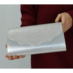 Structured glitter flap pouch with chain (Women's handbag) - Silver color