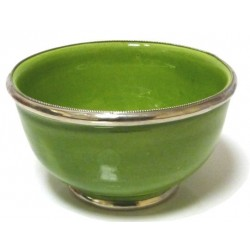Large Moroccan pottery bowl in green enamelled and surrounded by silver metal