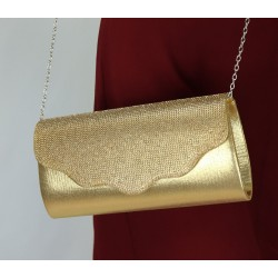 Structured glitter flap pouch with chain (Women's handbag) - Gold color