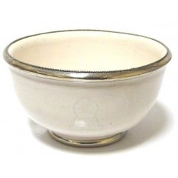 Medium Moroccan pottery bowl in white enamelled and surrounded by silver metal