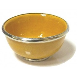 Medium Moroccan pottery bowl, yellow enamelled and surrounded by silver metal