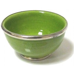 Medium Moroccan pottery bowl in green enamelled and surrounded by silver metal