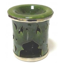 Small Moroccan decorative candle holder in green enamelled pottery circled and adorned...