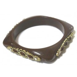 Women's fancy bracelet in dark brown colored plastic, adorned and beaded