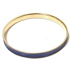 Women's fancy bracelet in gold metal garnished with a navy blue band