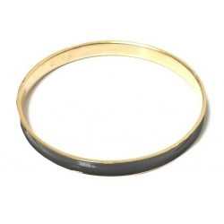 Women's fancy bracelet in gold metal garnished with a black band