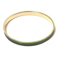 Women's fancy bracelet in golden metal trimmed with a green band