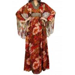 Robe de soirée avec col en V et magnifique broderies