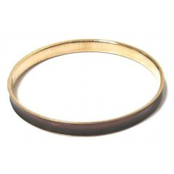 Women's fancy bracelet in gold metal trimmed with a brown band
