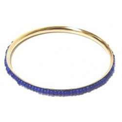 Women's fancy bracelet in gold metal garnished with a band of oval blue pearls