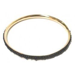 Women's fancy bracelet in gold metal adorned with a band of oval black pearls