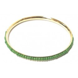 Women's fancy bracelet in gold metal adorned with a band of green oval pearls