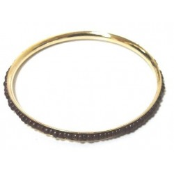 Women's fancy bracelet in gold metal adorned with a band of oval brown pearls
