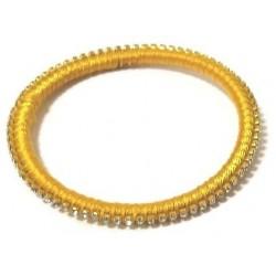 Women's semi-rigid fancy bracelet in plain yellow shiny thread and set with crystalline...