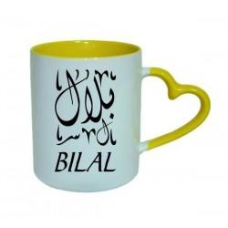 Mug avec anse sous forme de coeur - Couleur jaune (intérieur et poignée) - Idée cadeau...