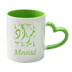 Mug with heart handle - Light green color (inside and handle) - Gift cup