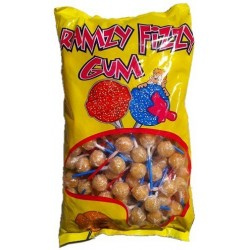Bag of 200 Ramzy Fizzy acidulated chewing gum lollipops with peach flavor