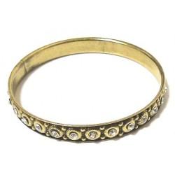 Rigid woman's fancy bracelet in ornate and beaded golden metal