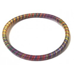 Women's fine semi-rigid fancy bracelet of medium thickness in multicolored cotton...