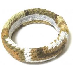 Women's flexible fancy bracelet in brown white cotton thread