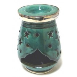 Moroccan oval decorative candle holder in blue-green enamelled pottery circled and...