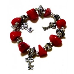 Moroccan craft bracelet with burgundy colored stones