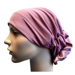 Hat in satin fabric with large flower (old pink)