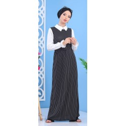 Black striped dress set with its matching white shirt