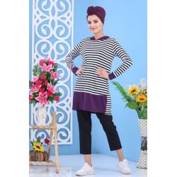 Tunique blanche et violette à rayures noires