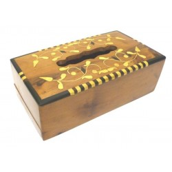 Thuja wood tissue box with floral decorations