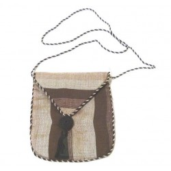 Pouch / Bag in Moroccan Sabra fabric in brown and beige color