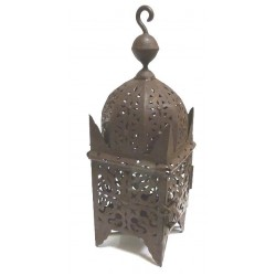 Small Moroccan lantern of the Slimani type in dull brown wrought iron garnished with...