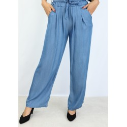Casual pants with belt - Color Jean Blue