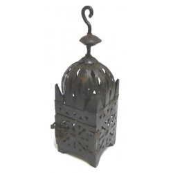 Small Moroccan Koutoubia lantern in dark brown wrought iron garnished with carving