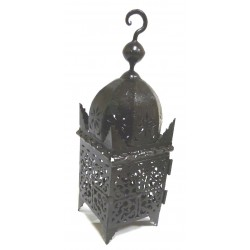 Small Moroccan lantern of the Slimani type in black wrought iron garnished with carving