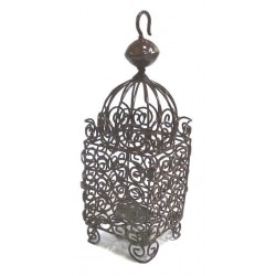 Moroccan lantern of medium size in wrought iron (Salk) brown glazed