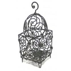 Small Moroccan lantern in wrought iron (Salk) black glazed