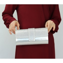 Evening pouch - Handbag for women - Silver color
