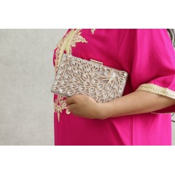 Luxury Handbag - Wedding Clutch - Evening Chain Strap - Gold with White Pearls