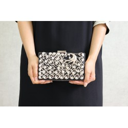 Luxury Handbag - Wedding Clutch - Evening Chain Strap - Black Color with White Pearls