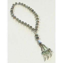 Sabha Rosary 33 smoked crystal beads with silver metallic decorations - Sebha
