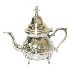 Small traditional Moroccan teapot in chiseled silver metal