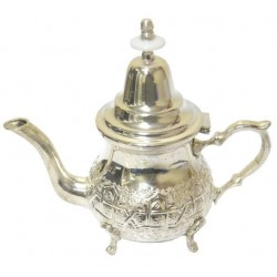 Traditional Moroccan silver medium teapot with pretty carving